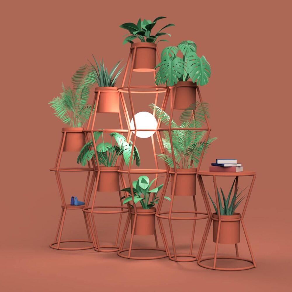 Kwietnik na trzy rośliny lub zielona ściana